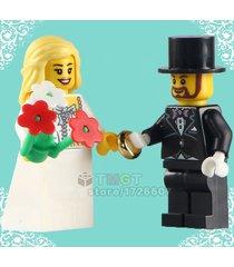 bride & bridegroom custom made tuxedo suit party decor minifigures blocks toys