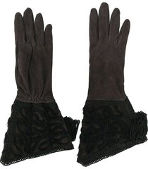giorgio armani pre-owned mid-length embellished gloves - brown