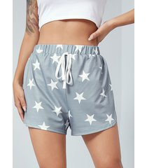 yoins shorts grises de cintura con cordón y estampado de estrellas