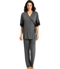 pijama recco c/ robe visco light renda cinza