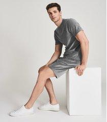 reiss henlow - velour regular fit t-shirt in grey, mens, size xxl