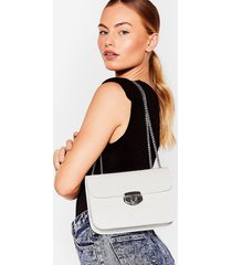 womens want hey croc's up faux leather shoulder bag - white