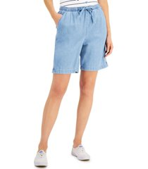 karen scott petite lila drawstring jean shorts, created for macy's