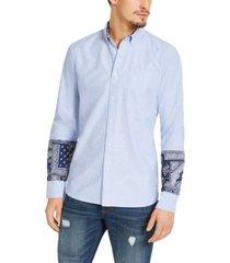 sun + stone men's regular-fit oxford bandana shirt, created for macy's