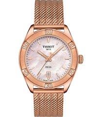women's tissot pr 100 sport chic mesh bracelet watch, 36mm