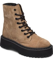 vmpath leather boot shoes boots ankle boots ankle boots flat heel brun vero moda