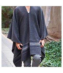 men's alpaca blend poncho, 'gray nazca' (peru)