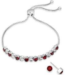 charter club silver-tone 2-pc. set crystal birthstone bolo bracelet & stud earrings, created for macy's