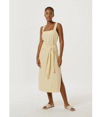 vestido midi vichy em tecido sarjado de viscose feminino - feminino