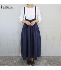 zanzea vestido largo sin mangas con vendaje sin mangas y tirantes de algodón para mujer -azul marino