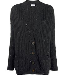 brunello cucinelli v-neck sequin-embellished cardigan - grey
