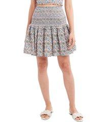 bcbgeneration floral-print woven smocked mini skirt