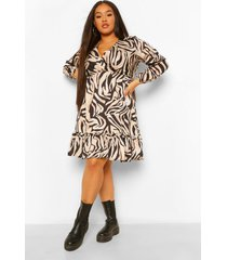 plus loshangende jurk met luipaardprint kraag, brown