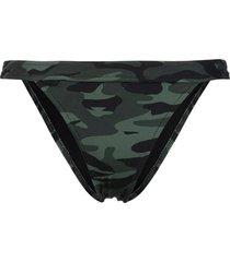 solid & striped camouflage print bikini bottoms - green