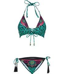 bikini all'americana (set 2 pezzi) (nero) - rainbow