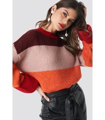 na-kd color striped balloon sleeve knitted sweater - pink,red,orange,multicolor