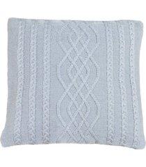 capa almofada tricot 45x45cm c/zãper sofa trico cod 1026 cinza claro - azul - feminino - dafiti