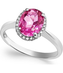 14k white gold pink topaz (2 ct. t.w.) and diamond accent ring