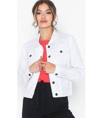 noisy may nmdebra l/s white denim jacket clr jeansjackor