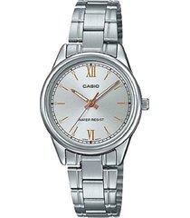 reloj casio ltp-v005d-7b2 análogo plateado para mujer