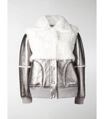 see by chloé metallic shearling bomber jacket