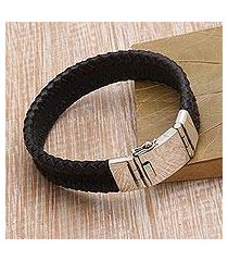 leather and sterling silver braided wristband bracelet, 'bold band' (indonesia)
