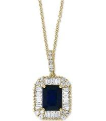 "effy sapphire (1-1/2 ct-t.w.) & diamond (1/2 ct. t.w.) 18"" pendant necklace in 14k gold"
