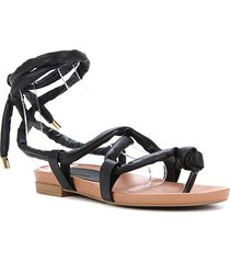 rasteira couro shoestock gladiadora amarração - feminino