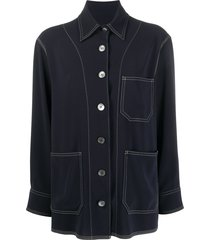 alberto biani pointed collar shirt - blue