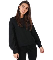 only womens elsebeth mesh insert crew sweatshirt size 12-14 in black