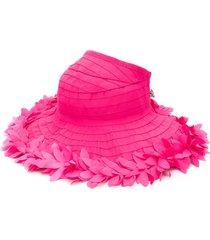 monnalisa floral appliqué sun hat - pink