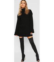 petite oversized ribgebreide trui-jurk, zwart
