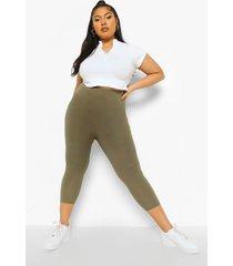 plus geribbelde driekwarts legging, khaki