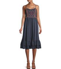 velvet women's pammy embroidered ruffle-hem dress - blue - size xs