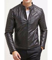 black leather jacket men slim fit biker motorcycle pure lambskin all size