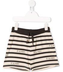 mini rodini à la mer horizontal-stripe shorts - neutrals