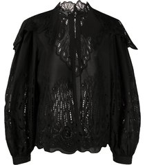 alberta ferretti broderie anglaise high-neck blouse - black