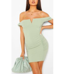 bardot mini dress with ruffle sleeves, sage