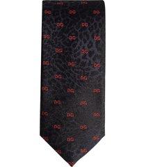 dolce & gabbana leopard-print logo tie - blue