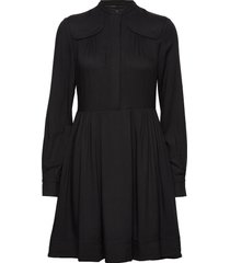 front yoke detail dress knälång klänning svart calvin klein