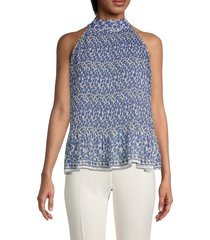 max studio women's floral-print sleeveless top - ivory blue floral - size l