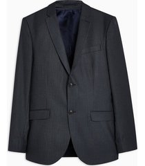 mens navy skinny fit pinstripe single breasted blazer with notch lapels