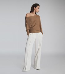 reiss bloor - ribbed asymmetric top in camel, womens, size xl