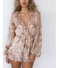 women rose gold sequin playsuit romper shortt jumpsuit sequin club party