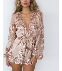 women rose gold sequin playsuit romper shortt jumpsuit sequin club party