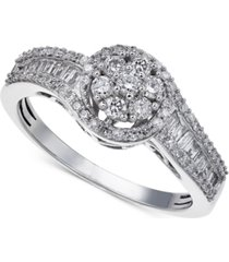 diamond halo promise ring in sterling silver (1/2 ct. t.w.)