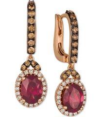 le vian raspberry rhodolite (2-3/4 ct. t.w.) & diamond (3/4 ct. t.w.) drop earrings in 14k rose gold