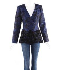 oscar de la renta blue black floral brocade beaded jacket blue/black/floral print sz: m