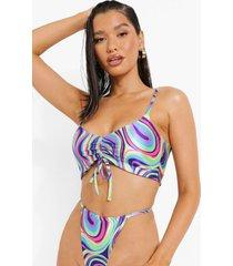 geplooide neon marmerprint bikini top met strik, blue
