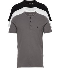 henley multipack t-shirts short-sleeved grå abercrombie & fitch